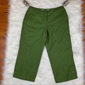 NWT J.Jill Green Genuine Fit Capri Pants Size 8